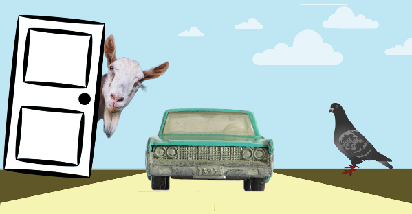 image of door, car and goat