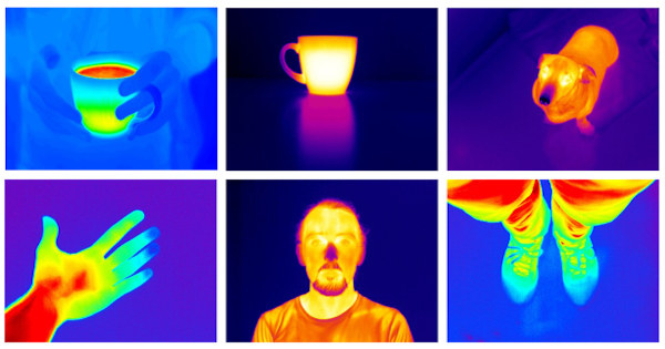 Thermal images of people, dog and coffee mugs